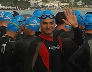 Roberto Baratta alla partenza del suo primo Ironman 70.3!